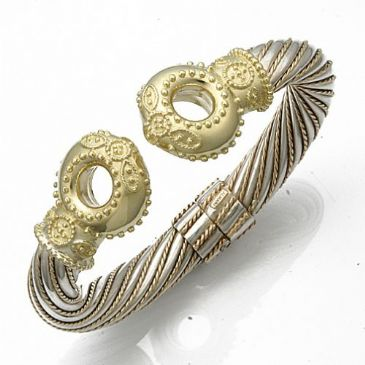 14K Two Tone Queen Royal Almani Design Handmade Bangle