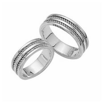 14k Gold His & Hers Classic Wedding Band Set 017