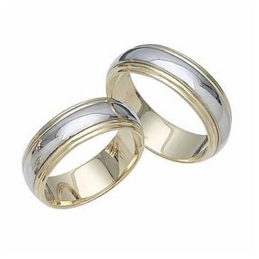 14k Gold His & Hers Two Tone Wedding Band Set 026