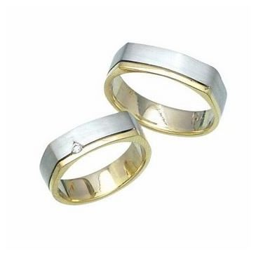 14k His & Hers Two Tone Gold 0.05 ct Diamond 027 Wedding Band Set HH02714K