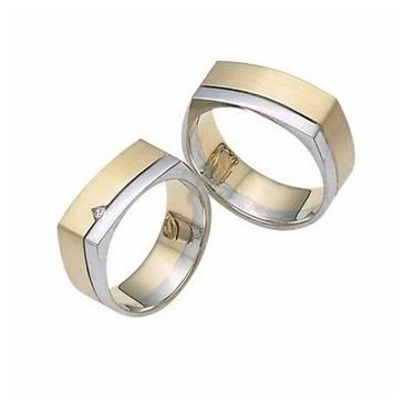 14k His & Hers Two Tone Gold 0.05 ct Diamond 028 Wedding Band Set HH02814K