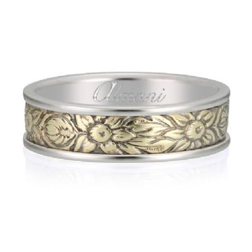 950 Platinum & 18K Two Tone 7mm Two Tone Antique Band Flower Design