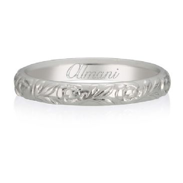 950 Platinum 3mm Almani Antique Wedding Band Root Petal Design