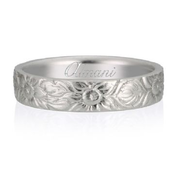 950 Platinum 5mm Almani Antique Wedding Band Sunflower Design