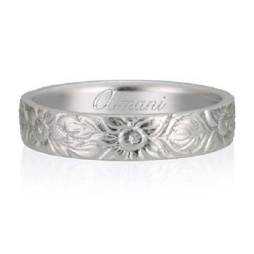950 Platinum 5mm Almani Antique Wedding Band Sunflower Design