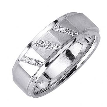 950 Platinum Round Brilliant Channel Set 8mm Comfort Fit Diamond Band 1211 (0.18ctw)