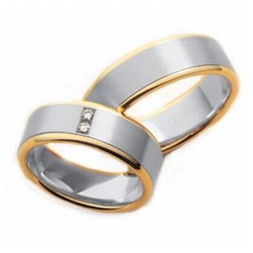 14k His & Hers Two Tone Gold 0.10 ct Diamond 045 Wedding Band Set HH04514K