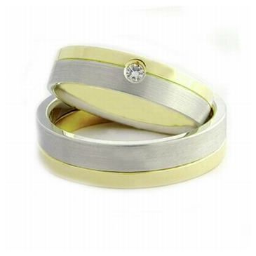 14k His & Hers Two Tone Gold 0.05ct Diamond 059 Wedding Band Set HH05914K