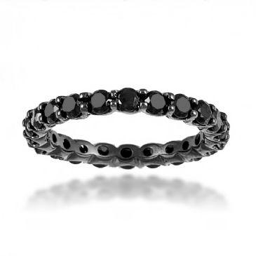 Excellent 14K Black Gold & 2 Carat Black Diamond Eternity Ring