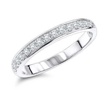 Excellent Thin 14k Gold & 0.3 Carat Diamond Wedding Band for Women