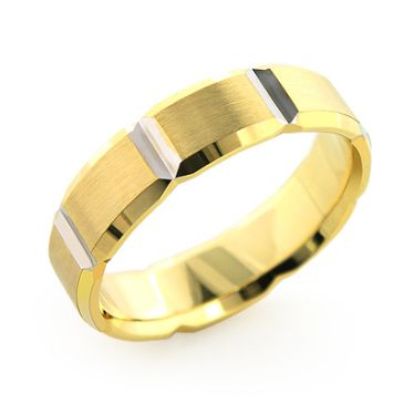 Exclusive Men's 14K Yellow & White Gold Ornamented Wedding Band