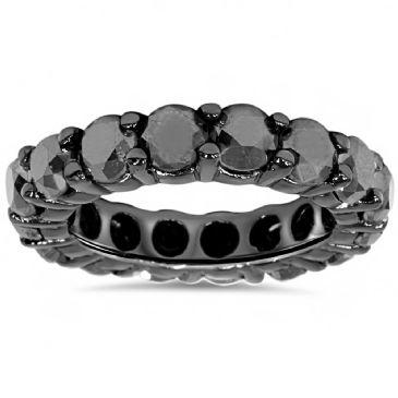 Exquisite 14K Black Gold & 5 Carat Black Diamond Eternity Ring