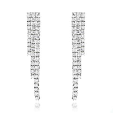 Ladies 14K Gold & 3.78 Carat Diamond String Earrings
