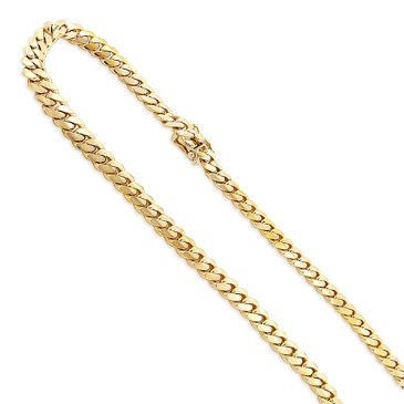 Men's 14K Solid Yellow Gold Miami Cuban Link Curb Chain 3mm