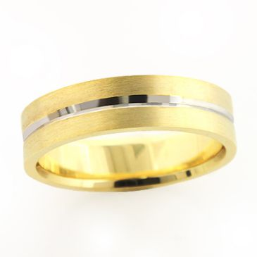 Stripe 14K Gold Excellent Wedding Band for Men 6mm