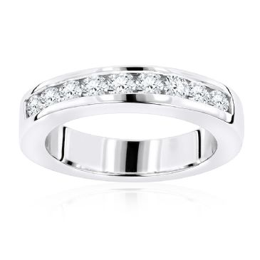 Thin 14K Gold & 0.44 Carat Round Diamond Wedding Band