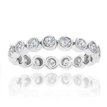 Thin 14K Gold & 1.25 Carat Bezel Set Round Diamond Eternity Ring