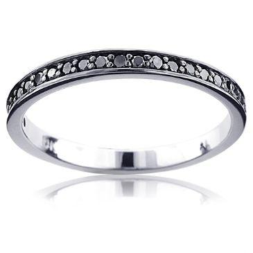 Ultra Thin 14K Gold & 0.21 Carat Black Diamond Wedding Band for Women