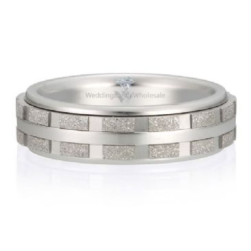 Platinum 950 6mm Diamond Cut Wedding Band Intersection Design 720