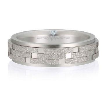 Platinum 950 6mm Diamond Cut Wedding Band Checker Board Design 721