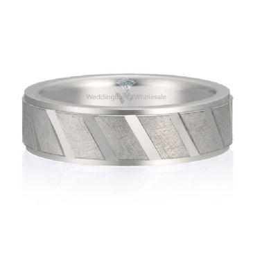Platinum 950 6mm Diamond Cut Wedding Band Oblique Design 723