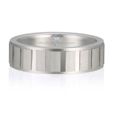 Platinum 950 6mm Diamond Cut Wedding Band Segment Design 722