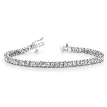 Platinum Diamond Princess Cut 2 Prong Set Tennis Bracelet (7.93ctw.)