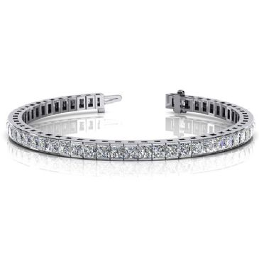 Platinum Diamond Princess Cut Channel Set Tennis Bracelet (8.96ctw.)