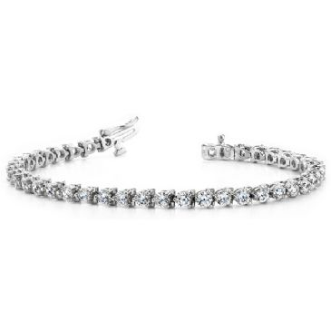 Platinum Diamond Round Brilliant 3 Prong Set Tennis Bracelet (6.0ctw.)