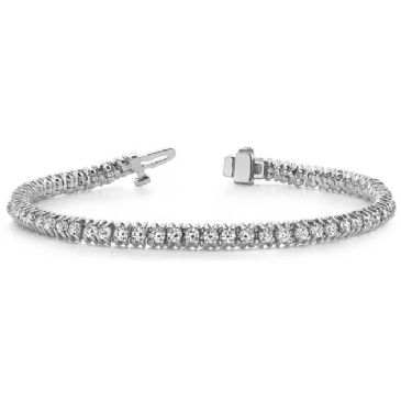 Platinum Diamond Round Brilliant 4 Prong Tennis Bracelet (4.13ctw.)