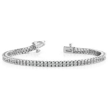 Platinum Diamond Round Brilliant Channel Set Tennis Bracelet (2.98ctw.)