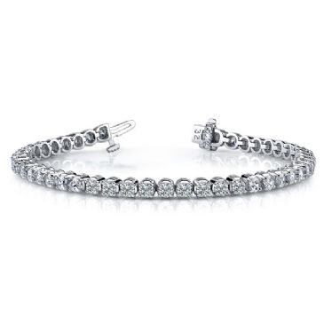 Platinum Diamond Round Brilliant Classic Prong Tennis Bracelet (5.52ctw.)