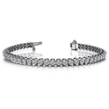 Platinum Diamond Round Brilliant Prong Set Tennis Bracelet (4.08ctw.)