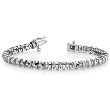 Platinum Diamond Round Brilliant Prong Set Tennis Bracelet (4.0ctw.)