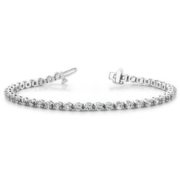 Platinum Diamond Round Brilliant Prong Set Tennis Bracelet (4.95ctw.)