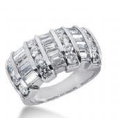 14k Gold Diamond Anniversary Wedding Ring 16 Round Brilliant, 15 Straight Baguette Diamonds 2.78ctw 311WR135914K