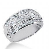 14k Gold Diamond Anniversary Wedding Ring 3 Princess Cut, 38 Round Brilliant Diamonds Total 1.04ctw 437WR178114k