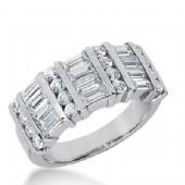 14k Gold Diamond Anniversary Wedding Ring 16 Round Brilliant Diamonds, and 12 Straight Baguette Stones Total 2.08ctw 506WR204914k