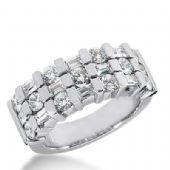 14k Gold Diamond Anniversary Wedding Ring 10 Straight Baguette Stones, And 11 Round Brilliant Diamonds Stones Total 2.12ctw 512WR206914k