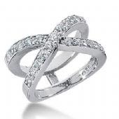 14k Gold Diamond Anniversary Wedding Ring 21 Round Brilliant Diamonds Total 1.05ctw 559WR218914k