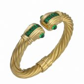 14K Yellow Gold Almani Roman Vintage Design Handmade Bangle Set With Emerald Stones