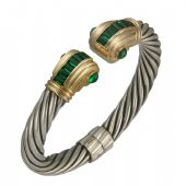 14K Two Tone Almani Roman Vintage Design Handmade Bangle Set With Emerald Stones