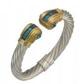 14K Two Tone Almani Roman Vintage Design Handmade Bangle Set With Blue Topaz Stones