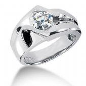 Men's 14K Gold Diamond Ring 1 Round Stone 1.25 ctw 10714-MDR1122