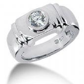 Men's 14K Gold Diamond Ring 1 Round Stone 11114-MDR1084
