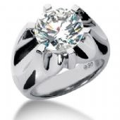 Men's Diamond Ring 1 Round Stone 6.00 ctw Center Stone Not Included 143-MDR1320