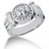 Men's Diamond Ring 1 Round Stone 1.00 ctw 19 Round Stone 0.02 ctw Total 1.38 ctw 149-MDR1226