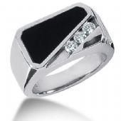Men's Diamond & Onyx Ring 3 Round Stone 0.10 ct Total 0.00 ctw 151-MDR169