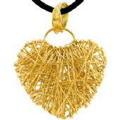 14k Yellow Gold Almani Design Heart Shaped Love Pendant