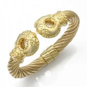 14K Yellow Gold Queen Royal Almani Design Handmade Bangle